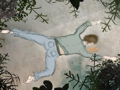 Outavit boy collapsed in garden.