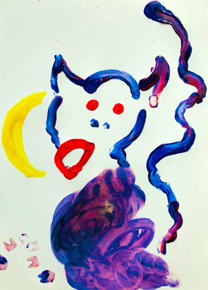 Finger-painting: monkey