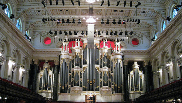Sydney Town Hall, interior, showing the pipe organ.