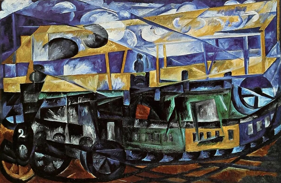 Airplane over train, oil painting by Natalia Goncharova, 1913.